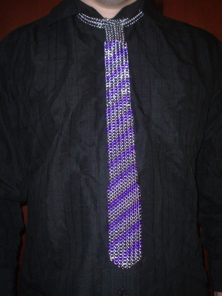 purple silver tie
